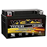 Weize YTX7A-BS High Performance - Maintenance Free - Sealed AGM Motorcycle Battery Replacement For Gas Gy6 Scooter Moped 50CC 125CC