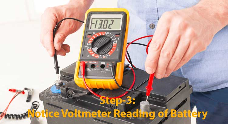 Step3-Notice Voltmeter Reading of Battery